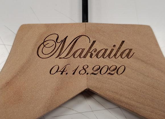Engraved wood hanger
