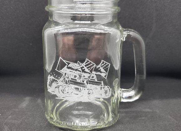Engraved pint mason jars