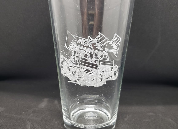 16 oz Pint beer glass engraved with sprint cars