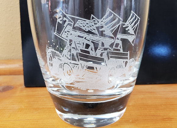 bourbon/whisky glass engraved with sprint cars..