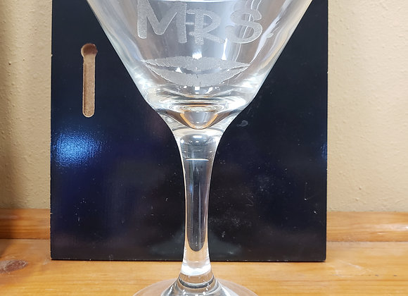 Mr and Mrs martini/champagne glass