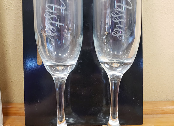 Mister and Missy champagne flutes
