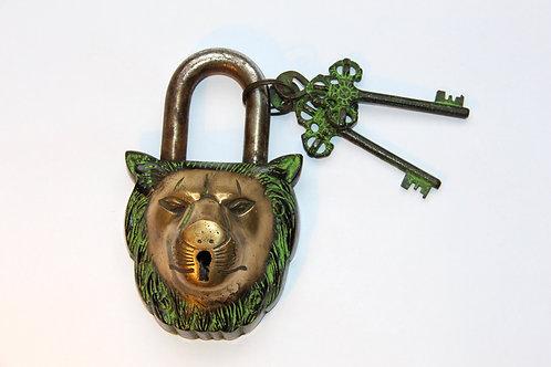 Brass lion padlock with 2 keys
