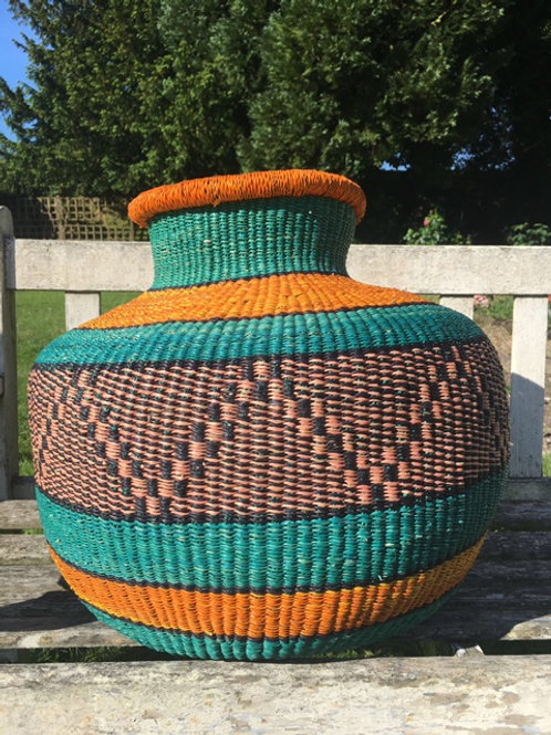 Large woven basket - Orange lip