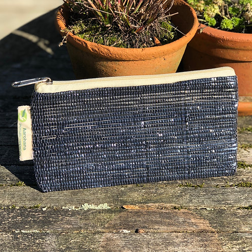 Upcycled handwoven clutch/pencil case- Black