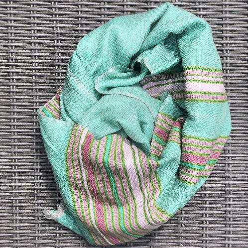 Aqua stripe cashmere/yak blend scarf