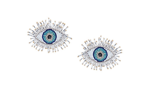 Blue dazzle beaded evil eye earrings by designer Olivia Dar