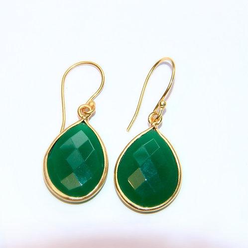 Gold plated green onyx drop earrings