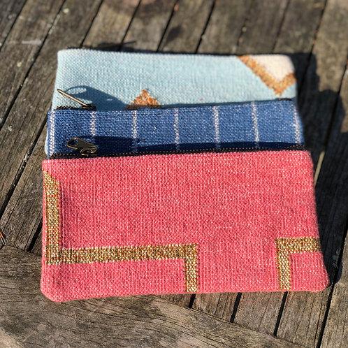 Dhurrie clutch/pencil case- pink