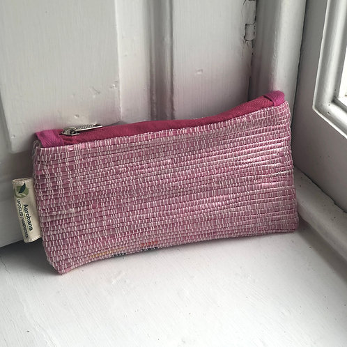 Pink upcycled pencil case