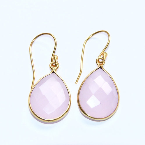 Gold plated pink chalcedony drop earrings