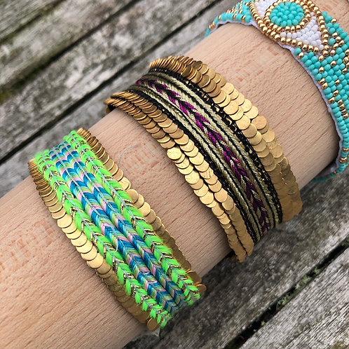 Neon blue/green cuff bracelet