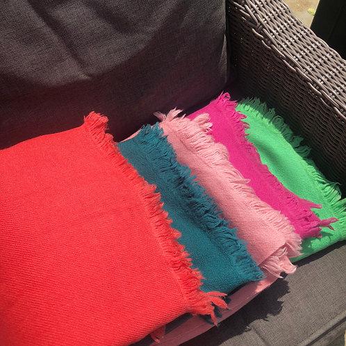 Yak wool blanket/wrap - Living Coral