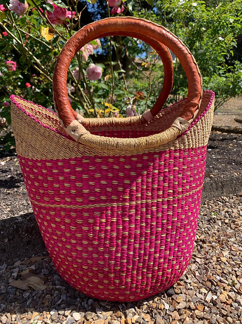 Market bag pink-natural top