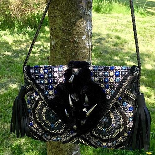 Black fringed handbag