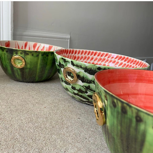 Watermelon Bowl - solid red inner