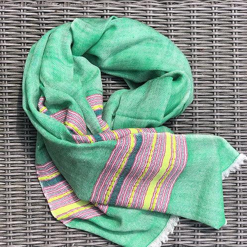 Green cashmere/yak blend scarf