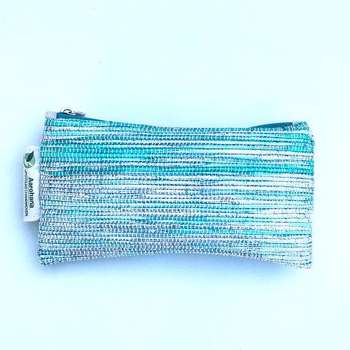 Green/silver pencil case