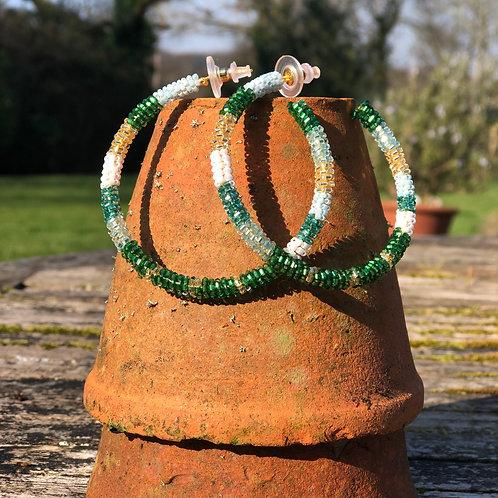 Green Beaded hoops