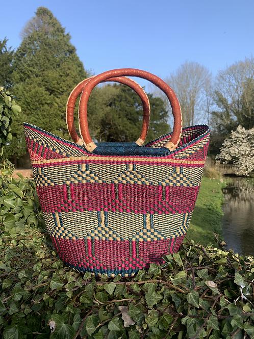 Pink & Blue Market Basket