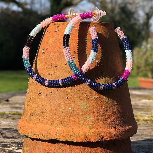 Blue/pink Beaded hoops
