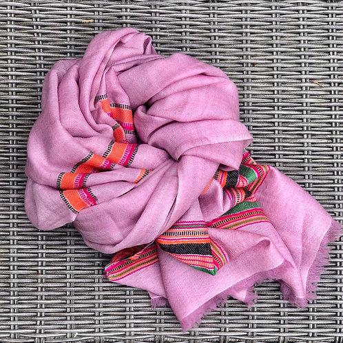 Pink cashmere/yak blend scarf