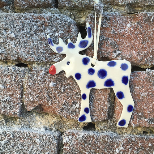Blue reindeer decoration