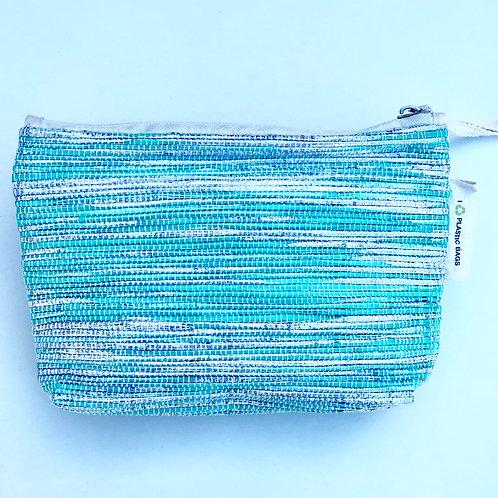 Silver/Green make up bag/clutch