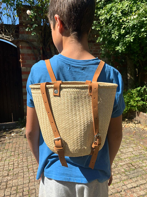 Kids handwoven palm backpack