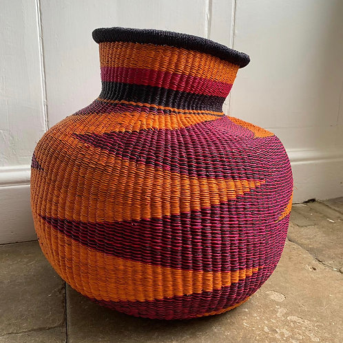 Zig zag woven basket Pink/Orange