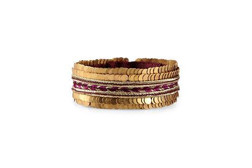 Adjustable cuff bracelet with metal detailing