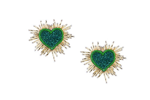 Green and gold dazzle heart earrings by designer Olivia Dar