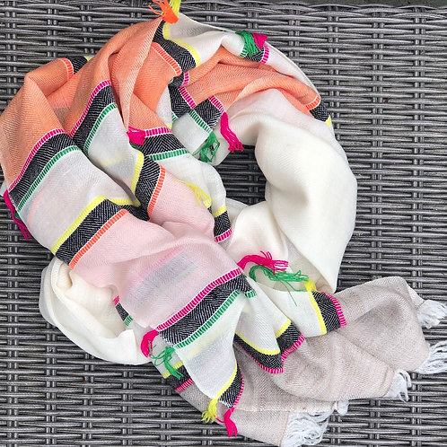 Multi stripe cashmere/yak blend scarf