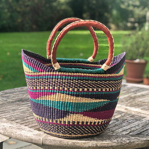 Market bag Multicoloured with brown handles
