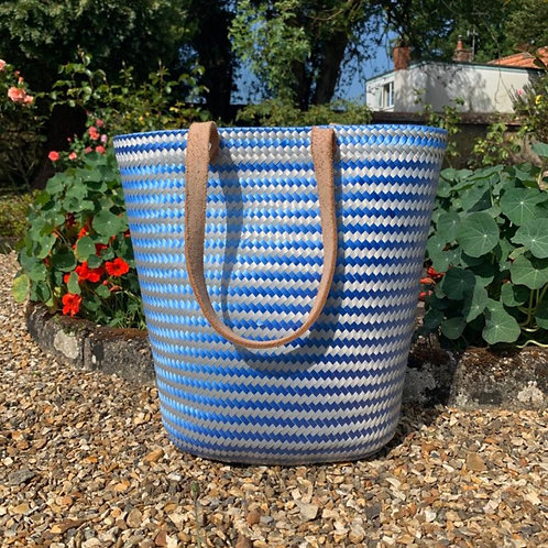 Chequered blue Mexican strong eco-friendly tote