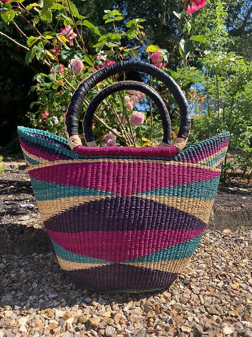 Market bag Multicoloured with black handles