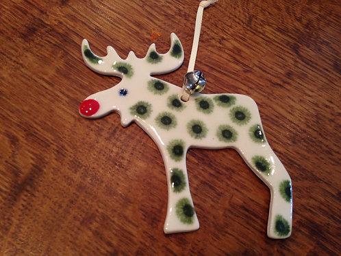 Green reindeer christmas decoration