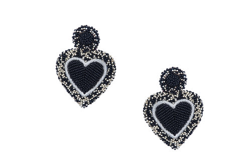Black and silver beaded heart earrings
