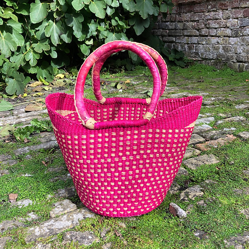Small Market bag Pink Leather handle