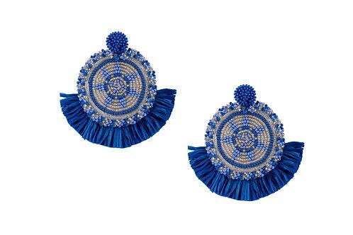 Blue beaded statement earrings