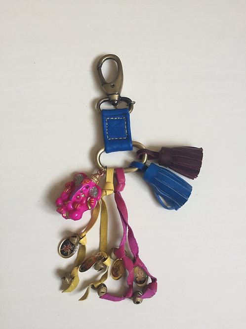Pink ganesh leather keyring / bag dangler