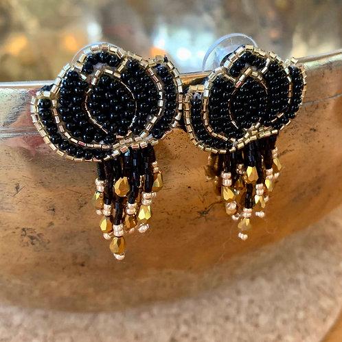 Lotus earrings black and gold