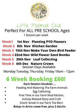 Monday , Tuesday & Wednesday Morning 10 - 12 5 Week Session starting Week Commencing 24th