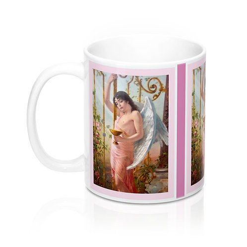Vintage Male Angel Pink and White Coffee Mug Shabby Roses Kitchen Angel Decor