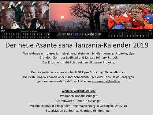 Der neue Asante sana Tanzania-Kalender 2