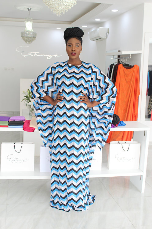 Ama Blue and White Abstract Kaftan