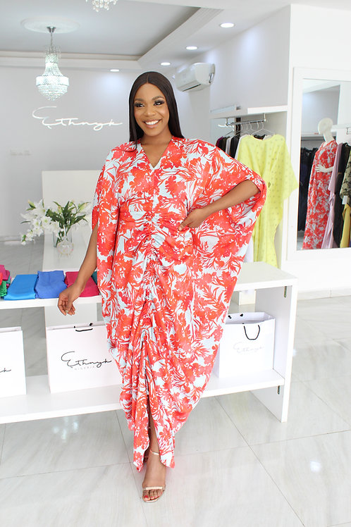 Dayo Blue and Coral Flower Bloom Kaftan
