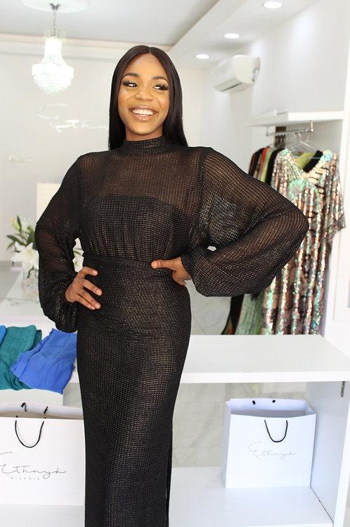 Eniyii Black Textured Lace Iro & Buba