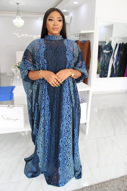 Eniyii Blue Gradient Lace  Kaftan