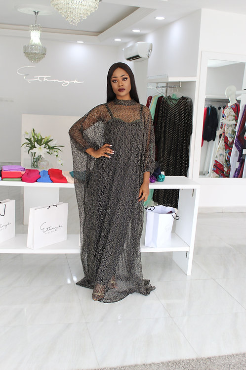 Eniyii Black and Gold Lace Kaftan